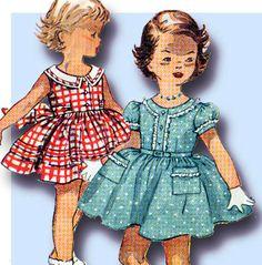 1950s Vintage Simplicity Sewing Pattern 4628 Toddler Girls Daughter Dress Sz 5