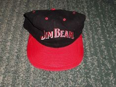 size 40 5751b afc8c Men s Black, Silver  amp  Red JIM BEAM Front Embroidered Logo Hat, Snap  Strap