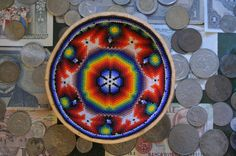 Peyote sacred beaded gourd bowl by Huichol Indian family Carillo