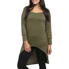 24/7 Comfort Apparel Women's High-Low Long Sleeve Extra Long Tunic Top, Green