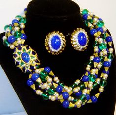 Vintage Mimi Di N Fx Lapis Pearl Art Glass Enamel Rhinestone Necklace Earrings from The Vintage Carousel Exclusively on Ruby Lane