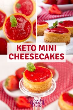 Creamy and delicious keto mini cheesecakes. They are easy to make and great for parties, holidays, weddings, or whatever the occasion! recipes for two recipes fry recipes Sugar Free Desserts, Low Carb Desserts, Low Carb Recipes, Dessert Recipes, Raw Recipes, Raw Desserts, Health Recipes, Holiday Desserts, Cookie Recipes