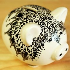 WPF Decor -Moroccan Styled Ceramic Piggy Bank, Hand Painted Detailing with Henna Designs Easy Crafts For Kids, Crafts To Make, Arts And Crafts, Pottery Painting, Ceramic Painting, Pig Bank, Henna Candles, Pottery Animals, This Little Piggy