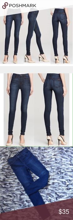 """Joes Jeans High Rise Skinny Joe's Jeans  the Beatrix: high-rise, super skinny jeans with whiskering detail. Excellent condition, size 31 """"Beatrix"""" skinny jeans by Joe's Jeans in dark blue. Approx. measurements: rise, 10""""; inseam, 32""""; leg opening, 9.5"""". Waist Straight across 16"""" Five-pocket style. Straight, skinny legs. Zip/button fly; belt loops. Joe's Jeans Jeans Skinny"""