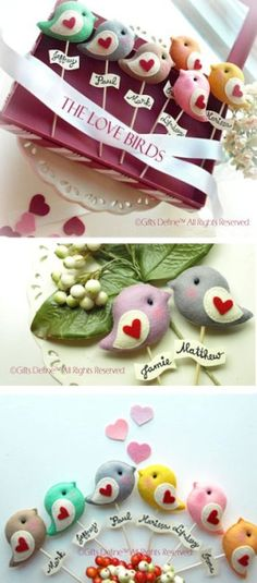 Love birds cake topper.   Maybe for party bags?