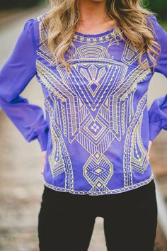 Purple Top with Gold Embellishments