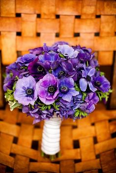 Purple Corporate flowers, corporate flower centerpiece, add pic source on… Anemone Bouquet, Hydrangea Bouquet Wedding, Purple Wedding Bouquets, Wedding Flower Arrangements, Flower Centerpieces, Blue Wedding, Floral Arrangements, Pantone, Corporate Flowers
