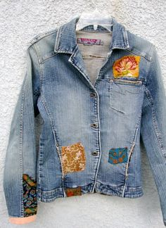 TAPESTRY, Upcycled,Recycled Denim Jacket from THREADBARE PRINCESS at Thrifty Princess Studio  Cool jacket with patches of tapestry and a