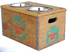 soda box for dog dishes and food storage