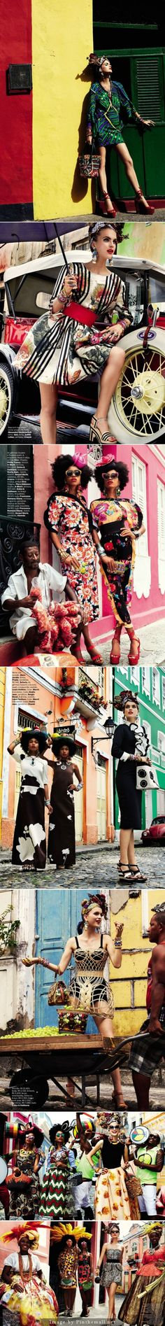 Carmen Miranda Reloaded editorial red yellow wall in Vogue Brazil February 2013 with Mirte Maas, Suzane & Suzana.