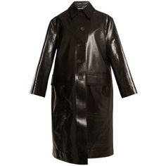 Kwaidan Editions Sutcliffe point-collar raincoat (7.325 RON) ❤ liked on Polyvore featuring outerwear, coats, black, rain coat, long sleeve coat, mac coat and pocket raincoat #RaincoatsForWomenLongSleeve