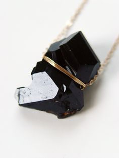 "friedasophiejewelry: "" Black Tourmaline Crystal Necklace by #FRIEDASOPHIE https://www.etsy.com/listing/261126213/black-tourmaline-crystal-gold-necklace?ref=shop_home_active_10 """