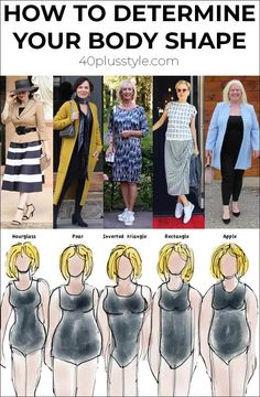 In dressing it is very important to dress to your strengths and body type. So how do you determine your body shape? Body Type Clothes, Dress Body Type, Dress For Body Shape, Short Women Fashion, Fashion For Women Over 40, 50 Fashion, Curvy Fashion, Fall Fashion, Style Fashion