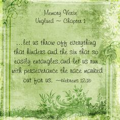 Memory Verse for Chapter 1 of Online Bible Study of Unglued-