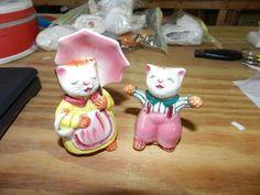 Vintage Ceramic Salt Pepper Shakers Pair of Kitties Japan Boy Girl Cats