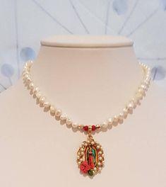 Catholic Necklace Lady Guadalupe & Pearls. Collar de Perlas Colgante de la Virgen de Guadalupe. Christmas Gift.  You can shop in; https://www.etsy.com/mx/listing/567119845/catholic-necklace-lady-guadalupe-pearls?ref=pr_shop