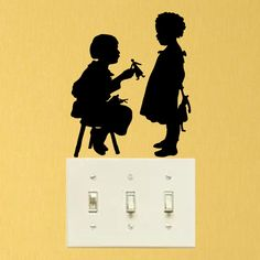 Muñecas de papel Silueta de Moda Inicio Tatuajes de Pared Interruptor de La Luz Etiqueta Vinilo 6SS0014