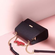 Navy Blue Crossbody Bags Red Heart Chain bags