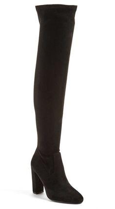 "Sleek, minimal styling defines this over-the-knee boot fashioned with an almond toe and a tall wrapped heel. <ul> <li>4"" heel (size 8.5)</li> <li>23"" shaft; 13"" - 15"" calf circumference.</li> <li>Back inset-zip closure</li> <li>Textile upper/synthetic lining and sole</li> <li>By Steve Madden; imported</li> <li>BP. Shoes</li> </ul>"