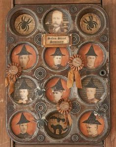 Bonus Project Inspiration: This altered muffin tin by Chris Raissis uses old cabinet photographs with a fun twist. Retro Halloween, Spooky Halloween, Halloween Shadow Box, Vintage Halloween Decorations, Holidays Halloween, Halloween Crafts, Happy Halloween, Halloween Ideas, Halloween Trophies