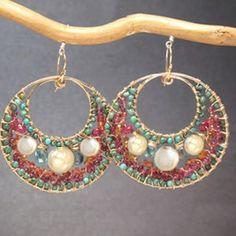 Hammered hoop earrings ivory coin pearls, turquoise, mandarin garnet, pink ruby Bohemian 145
