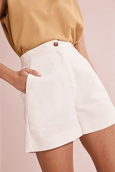 Tailored Short Tailored Shorts, Linen Tshirts, Shell Tops, Shoe Size Conversion, Striped Linen, Short Dresses, Women Wear, Mini Skirts, Clothes For Women