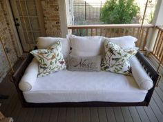 Porch Swing Bed - I totally want this to hang on my back patio facing my soon-to-be garden!
