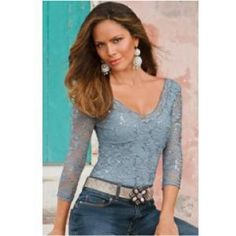 I pinned this from Shopwiki.com: Boston Proper Double v-lace top ICE BLUE MEDIUM, Three-quarter sleeve top with allover shimmering sequin lace. Nylon/polyester/spandex