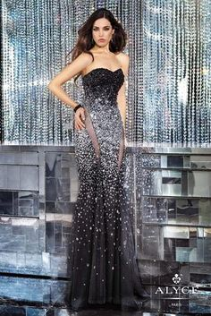 Alyce Paris Prom - 6157 A strapless beaded gown with sheer side panels coming in Black/Silver and Sapphire/Silver at Estelle's Dressy Dresses! #estellesdressydresses # ipaprom