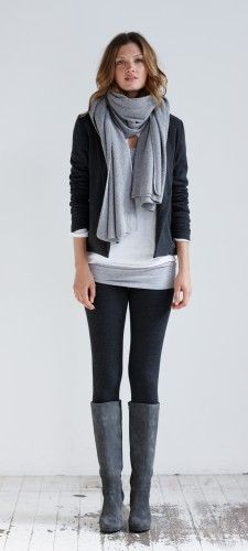I like the look of this except for the leggins... If you wear leggins your shirt needs to cover your ass and front, so this outfit but with tight black jeans :) Jersey Blazer fall cozy style outfit