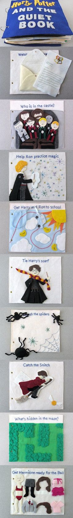 Potter Quiet Book Harry Potter Quiet Book Hall Someday we are making this for your kids!Harry Potter Quiet Book Hall Someday we are making this for your kids! Theme Harry Potter, Harry Potter Love, Harry Potter Nursery, Cadeau Harry Potter, Quiet Book Patterns, Mischief Managed, Felt Crafts, Hogwarts, Sewing Projects