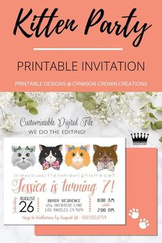 Kitten Printable Invitation. This digital download is perfect for your kitty party! #digitaldownload #printableinvitation #printables #kidsbirthdayparty #birthdaypartythemes #kittenparty #catparty #areyoukittenme #kittyparty Digital Invitations, Printable Invitations, Party Printables, Kitten Party, Cat Party, Birthday Invitations Kids, Birthday Party Themes, Birthday Ideas, Pm Sp