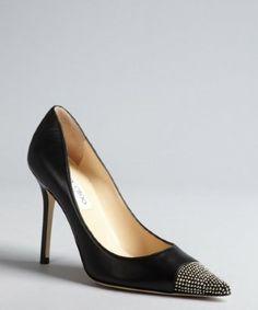 Jimmy Choo: black leather 'Amika' studded pointed toe heels