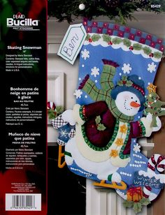 "Skating Snowman 18"" Bucilla Felt Christmas Stocking Kit #85429 - FTH Studio International"