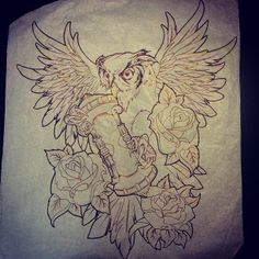 #owl #time #roses #wings #timekeeper #tattoo #sketch #drawing #outline #ink by Anthony Ianozzi