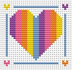 Sew Simple Rainbow Heart Cross Stitch Kit £8.95 | Past Impressions | Fat Cat Cross Stitch