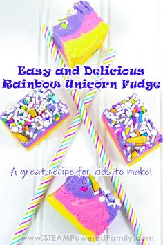 Kids will learn some candy science and kitchen skills while making this easy, delicious and gorgeous Rainbow Unicorn Fudge recipe that is simply magical! Perfect for a unicorn themed party. Vanilla Fudge Recipes, Best Fudge Recipe, Butter Finger Dessert, Unicorn Sprinkles, Yellow Food Coloring, Unicorn Foods, Pink Foods, White Chocolate Chips, Unicorn Birthday Parties