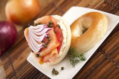 Smoked Salmon and Onions with Capers on a Bagel - easy gourmet breakfast!  www.gillsonions.com/recipes