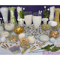 Gold and Silver Candy Buffet/ www.callaraesfloralevents.com