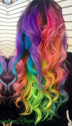 Long wavy rainbow dyed hair #haircolor #hairdye #hairchalk