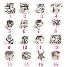 DIY accessories alloy plating ancient silver macroporous bead 16 sets(16PCS)$5