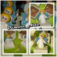 ***DÉBORA ACOSTA***DEMARE_ARTE***: Angelitos para comunión, denario en porcelana fría...