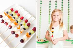 Rainbow fruit kabobs for St. Patrick's Day!