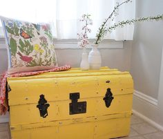 An old trunk gets a new life with a splash of cheery yellow paint. Perfect for a sunny corner. No. 2 by 508 Restoration & Design, via Flickr