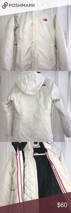 The North Face Winter Coat Off-white North Face coat in very good condition. Has a removable jacket liner and was only worn for one winter. Contains two pockets in the shell and two pockets in the liner. Warm coat and flattering fit. The North Face Jackets & Coats