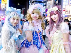 Japanese lolitas on the street in Harajuku tonight.