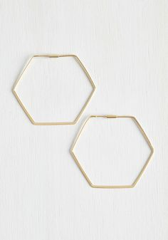 Going, Going, Hexagon Earrings - Gold, Casual, Boho, 70s, Minimal, Good