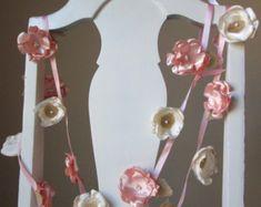 Stoff Blumen Girlande Hochzeitsdekoration Partei Land Hochzeit Girlande, Baby Mädchen Kinderzimmer Dekor, Rezeption Dekor, rustikale Jute-Girlande