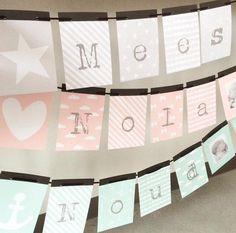 Lieve naamslingers voor op de kinder- of babykamer. DIY op mijnvlaggenlijn.nl Studio Kid&Ko