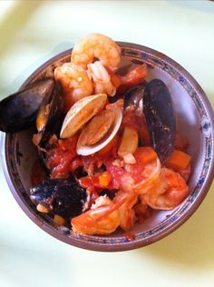 Seafood Fra Diavolo - stewed tomatoes, garlic, and olive oil make the base for this seafood dish
